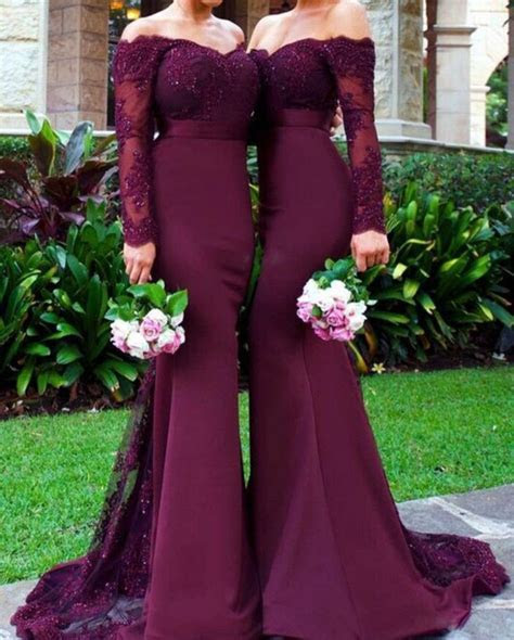 Burgundy Lace Mermaid Prom Dresses Long Sleeves Sexy