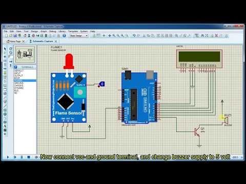 Flame sensor simulation with arduino