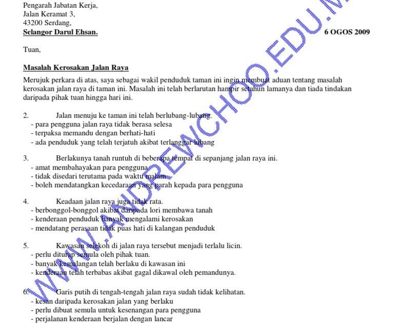 contoh surat rasmi aduan lumba haram surat w