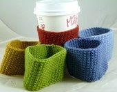 Any THREE Merino Wool Cup Sleeves, Crochet, Custom Handmade, Charitable Donation