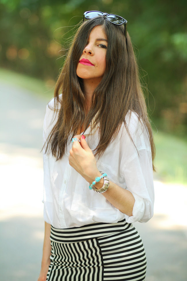 Stripe Maxi Skirt, Asos White Blouse, Asos pumpkin heels, Ippolita Scultura Turquoise Jewelry, John Hardy Silver Tiger Cuff, Fashion outfit
