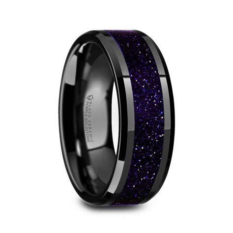 Aergia Black Ceramic Polished Men?s Wedding Band with