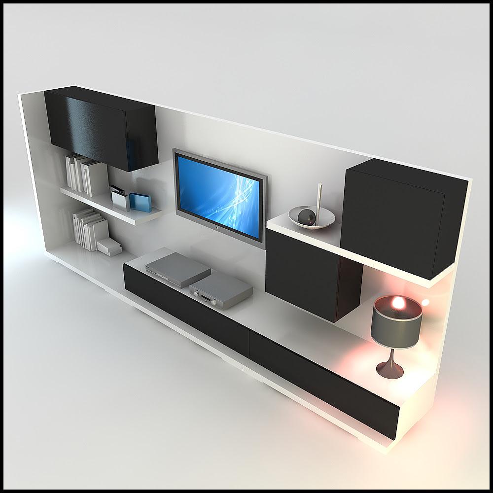 TV / Wall Unit Modern Design X_15 3D Model .max .obj .3ds .c4d ...