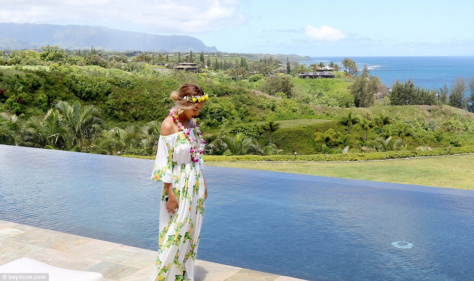 Maxed out: Beyonce, 34, shared the images of their paradise vacay on her website on Monday