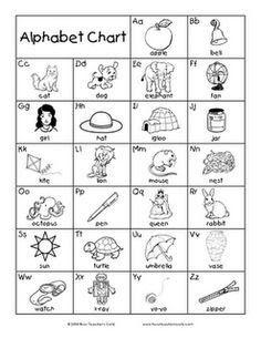 printable alphabet chart black and white - Google Search | School ...