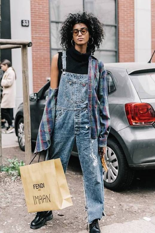Le Fashion Blog Tomboy Imman Hammam Glasses Sleeveless Turtleneck Denim Overalls Flannel Black Combat Boots Via Who What Wear