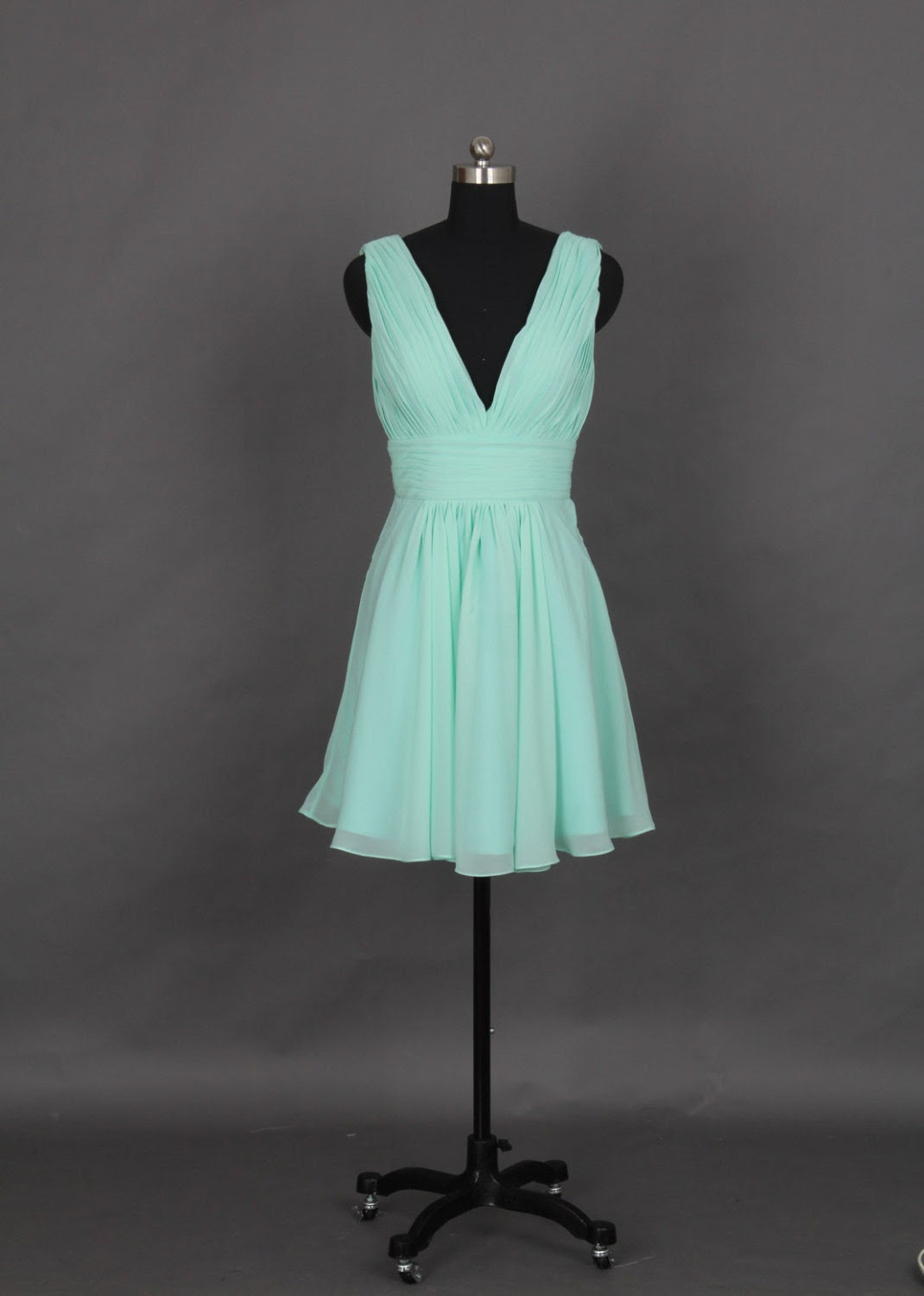 Mint Bridesmaid Dress with Deep V-neck and V-back