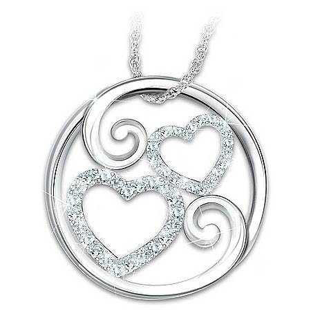 Forever Mother & Daughter Topaz Heart-Shaped Pendant Necklace