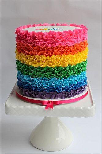 Rainbow ruffle cake :)