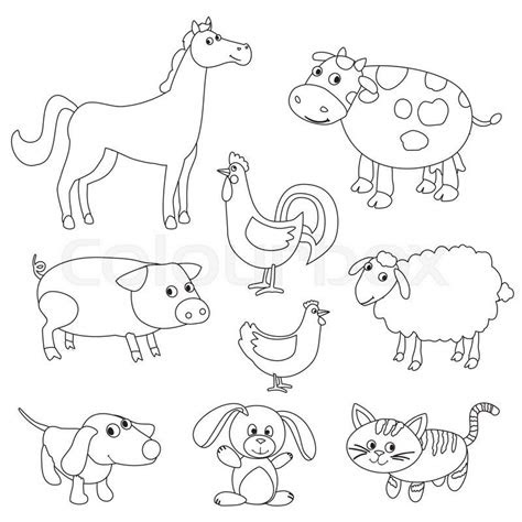 cute cartoon farm animals  birds  coloring book
