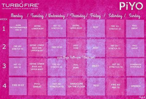 turbo fire  piyo workout hybrid schedule body beast