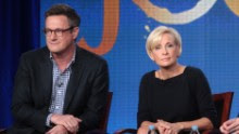 Host Joe Scarborough, co-hosts Mika Brzezinski, and Willie Geist speak onstage during the 'Morning Joe' panel during the NBCUniversal portion of the 2012 Winter TCA Tour at The Langham Huntington Hotel and Spa on January 7, 2012 in Pasadena, California.  (Photo by Frederick M. Brown/Getty Images)