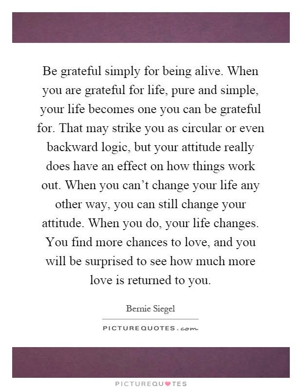 Be Grateful Simply For Being Alive When You Are Grateful For