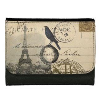 Paris Crow Globe French Postcard Wallet