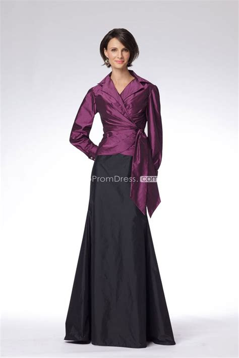 long sleeve taffeta   empire floor length mother