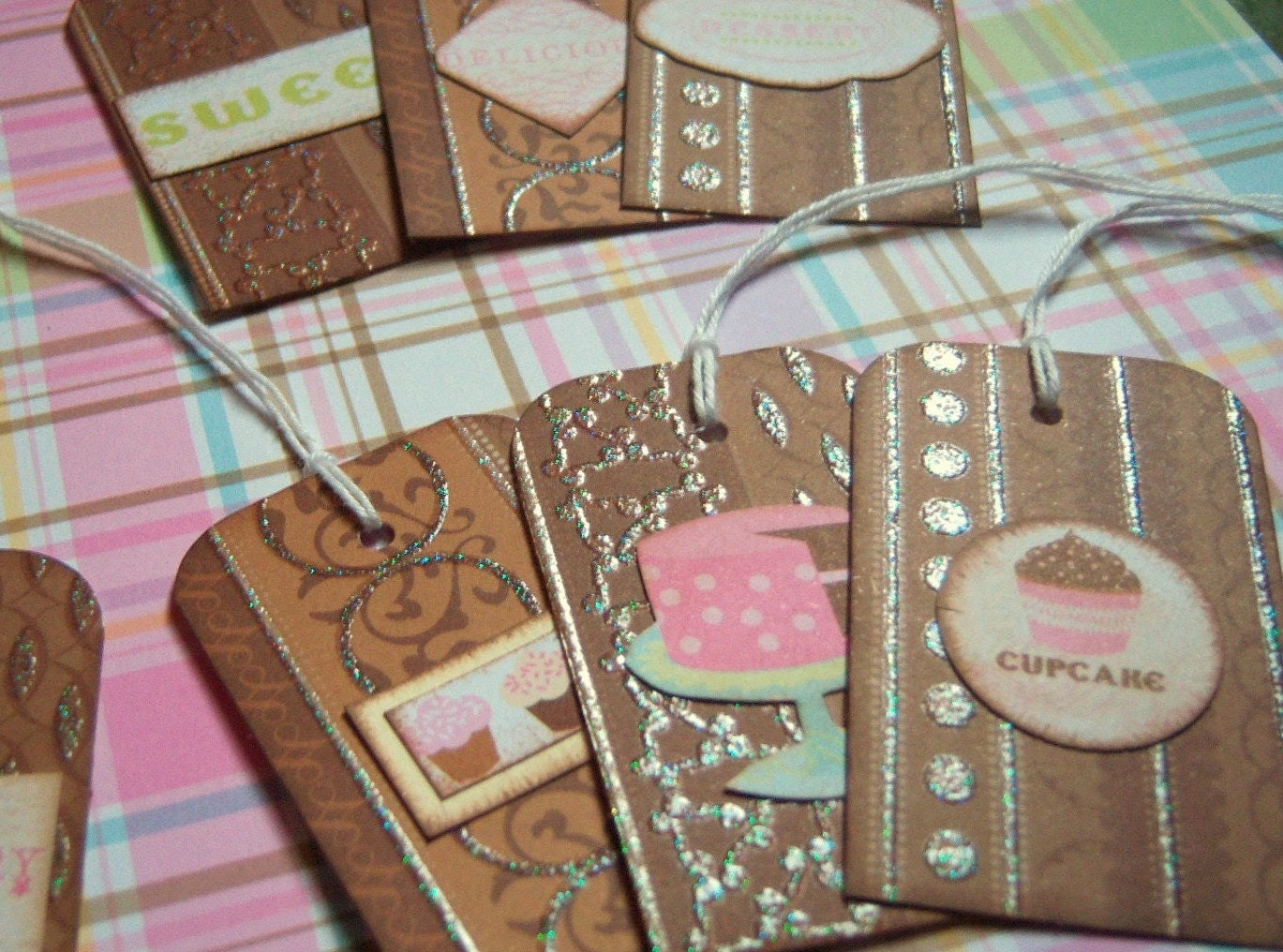 Chocolate Desert Embossed and Glittered Tags