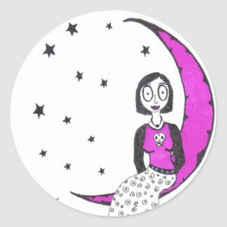 Creepy Over the Moon Round Stickers