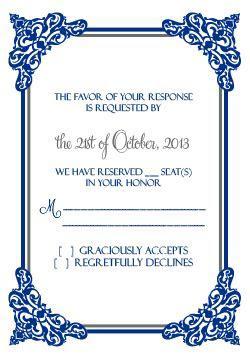 Intricate Border Invitation   RSVP ? Wedding Invitation