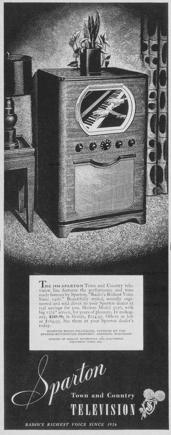 SPARTON TOWN AND COUNTRY TELEVISION LIFE 04/17/1950 p. 124