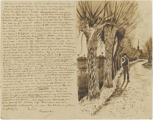 Road with a man and pollard willows - October 1881 (175)
