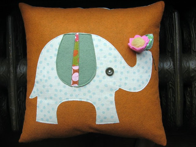 elephant flower pillow
