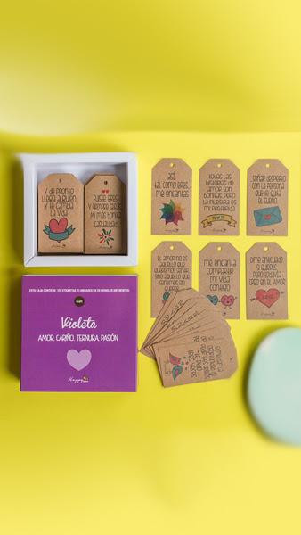 Etiquetas Violeta 100u Caja Frases Amor Ternura Pasion