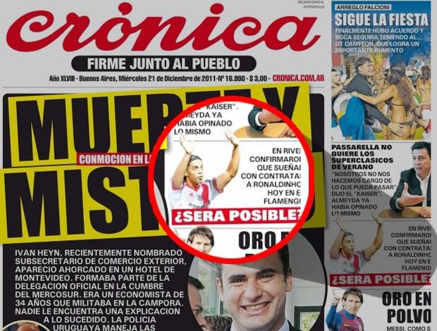reprodução diário cronica ronaldinho gaucho river plate (Foto: reprodução diário cronica)