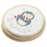 Adorable Christmas Penguin Round Premium Shortbread Cookie