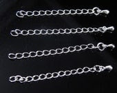 """2"""" Chain Extension End Piece with Drop, Silver Plated, 3.5mm wide, 58mm long - 10 pcs"""