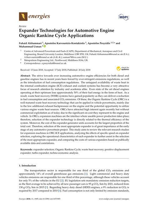 (PDF) Expander Technologies for Automotive Engine Organic