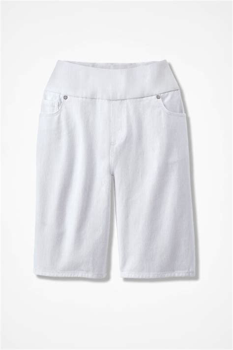 knit denim pull  shorts coldwater creek
