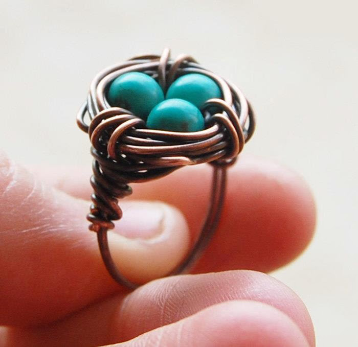Turquoise Birds Nest Ring