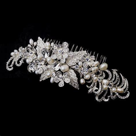 Silver & Freshwater Pearl Hair Comb   Elegant Bridal Hair