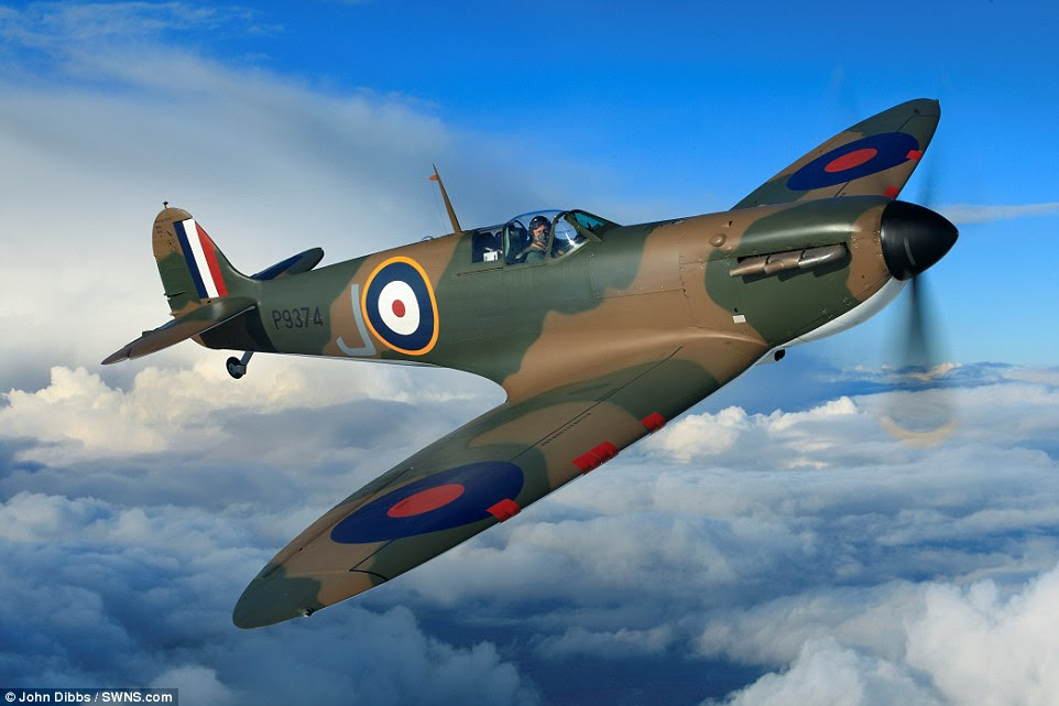 Back in the sky: This iconic Mark 1 plane was among the first built in March 1940, but Spitfire P9374 never made it to the Battle of Britain as it crash-landed over Dunkirk in May 1940. In 1980 the wreckage was discovered when part of it was spotted poking out from its sandy grave