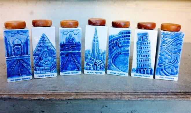 Vintage Spice Jars Blue and White Ceramics Sweden Finland - europeanmodern