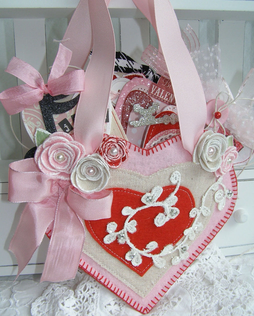 Shabby Chic Heart Pocket Valentine's Day Love Home by PaperBistro