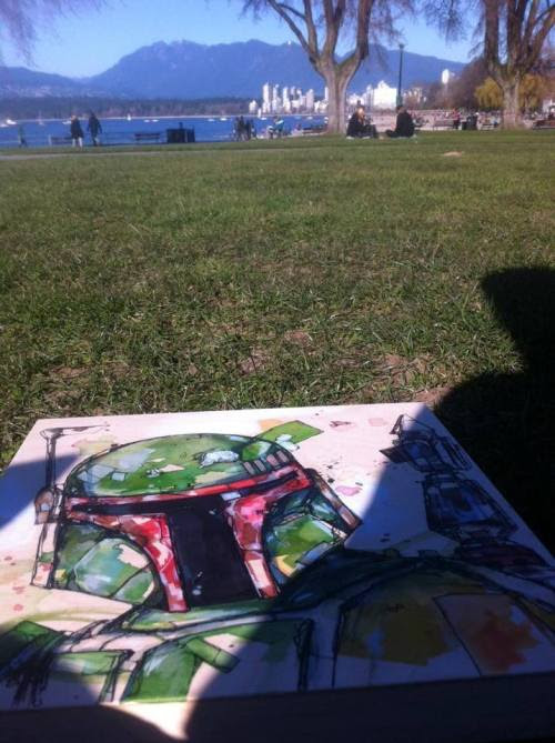 This weekend, I painted a boba fett commission I'm working on at the beach in Vancouver. What a day!