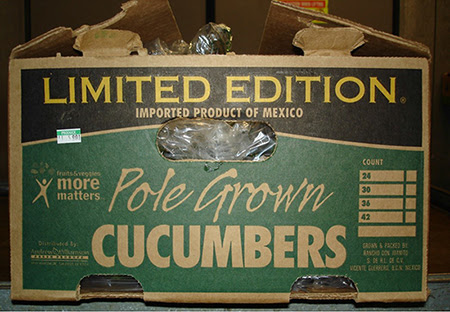 Crate of cucumbers