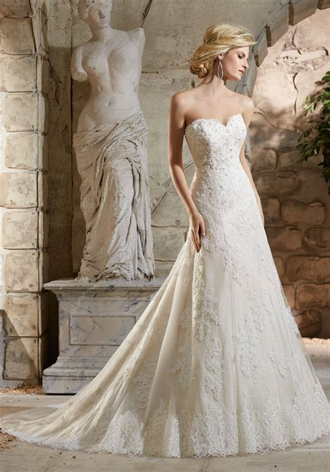 Alencon Lace Appliqués on Net on Lace Wedding Dress