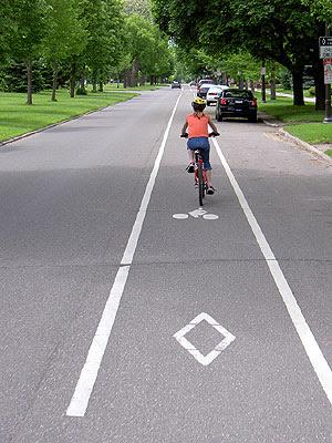 Riding the Bike Lane on Summit Avenue