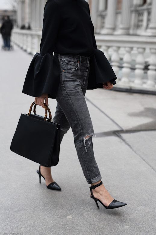 Statement Sleeve Top High Waisted Grey Distressed Jeans Gucci Bamboo Handle Bag Alexander Wang Pumps Via Carola Pojer Vienna Wedekind Le Fashion Blog