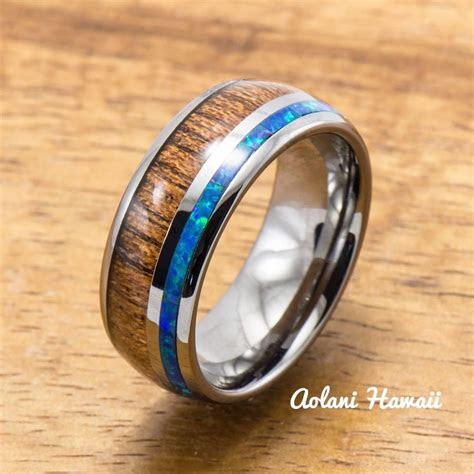 tungsten wedding band set  opal  koa wood inlay