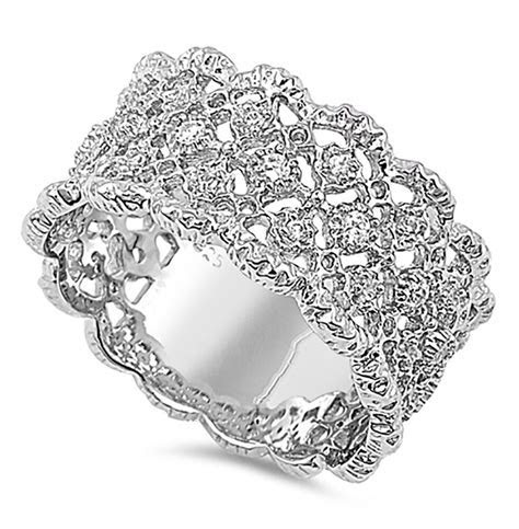 Sterling Silver .925 Women's CZ Vintage Art Deco Eternity