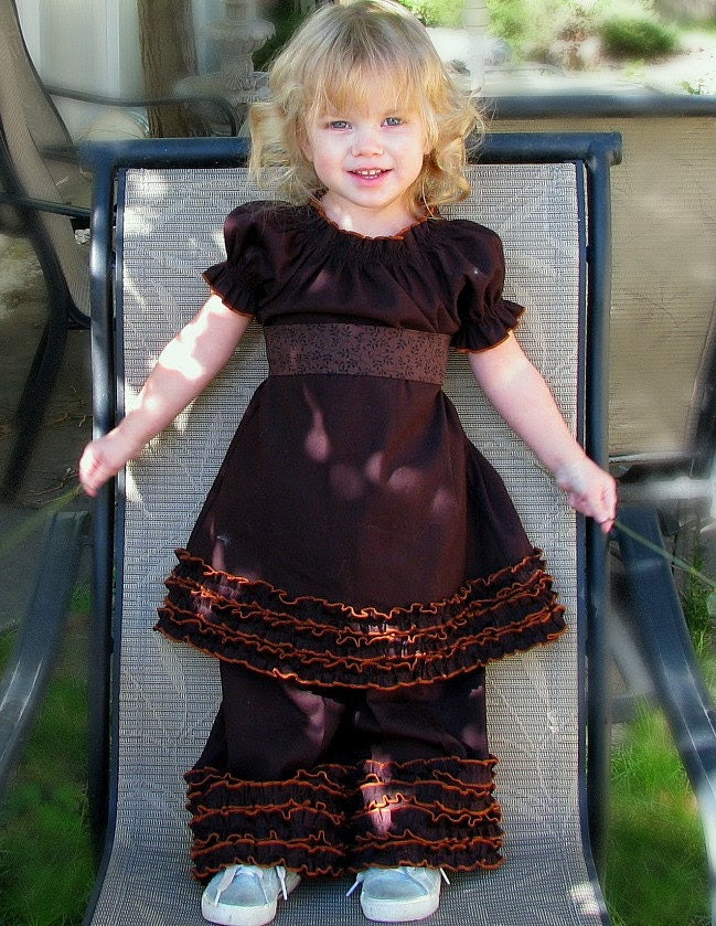 Hot Coco Caramel Ruffle Peasant Dress--Rozzissweetpeas--girls Holiday Peasant Dress Sizes sm, med, large, 2T,3T,4,5 and 6