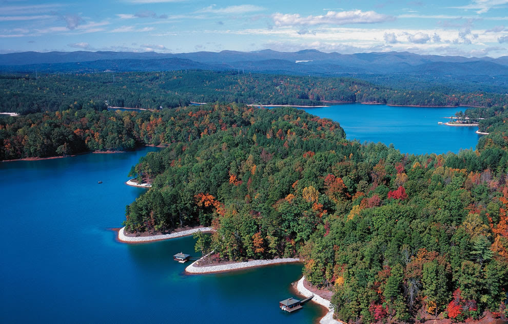 South Carolina fall foliage aerial, The Reserve at Lake Keowee