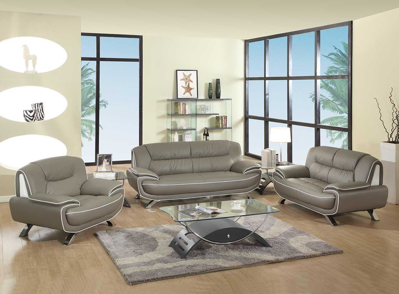 Amalfi Grey and White Leather Living Room | Las Vegas ...