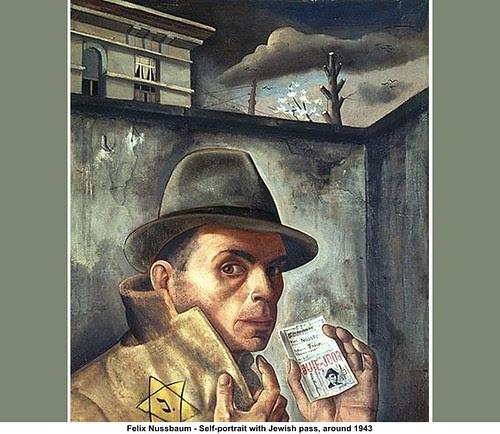 Felix Nussbaum - Self-portrait with Jewish pass, around 1943 by artimageslibrary
