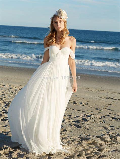 RW013 Sexy Off the Shoulder Chiffon Beach Wedding Dress