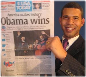 English: Photo of Iman Crosson holding newspap...