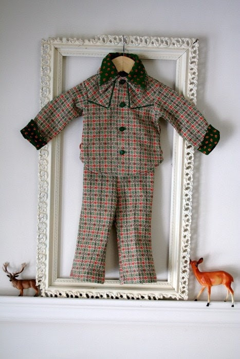 Vintage Little Boys Autumn Suit sz 2T